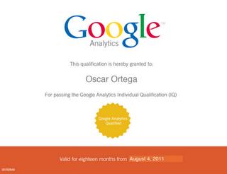 Certificado Google Analytics Oscar Ortega